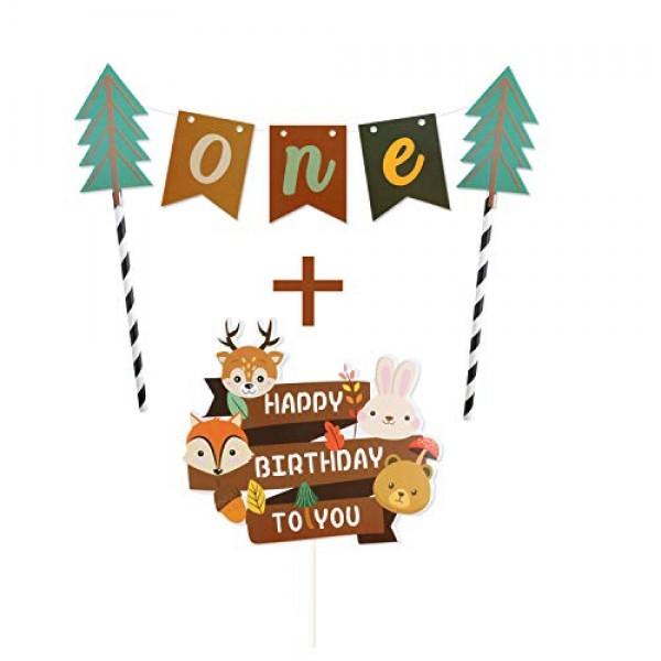 Cartoon Animals Happy Birthday to You Banner Cake Topper Handmad...