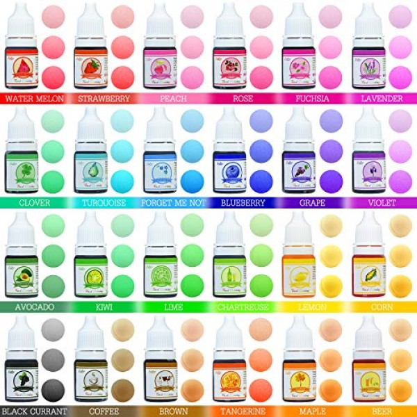24 Color Food Coloring - Variety Rainbow Cake Food Coloring Set ...