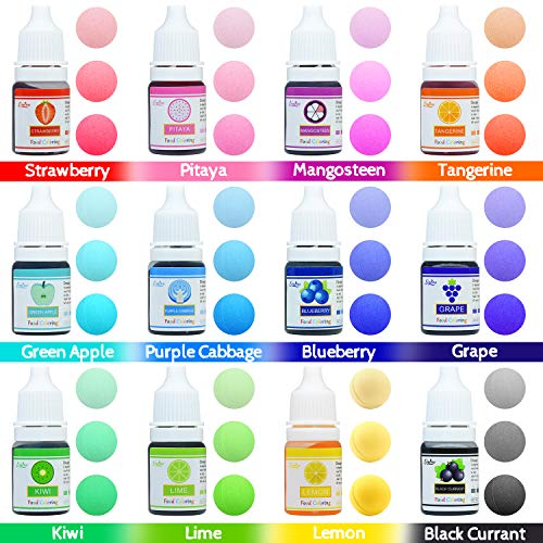 Food Coloring - 12 Color Vibrant Cake Food Coloring Set for ...