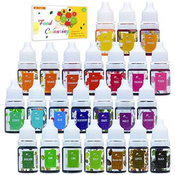Food Coloring - 24 Colors Variety Liquid Cake Icing Coloring Kit...