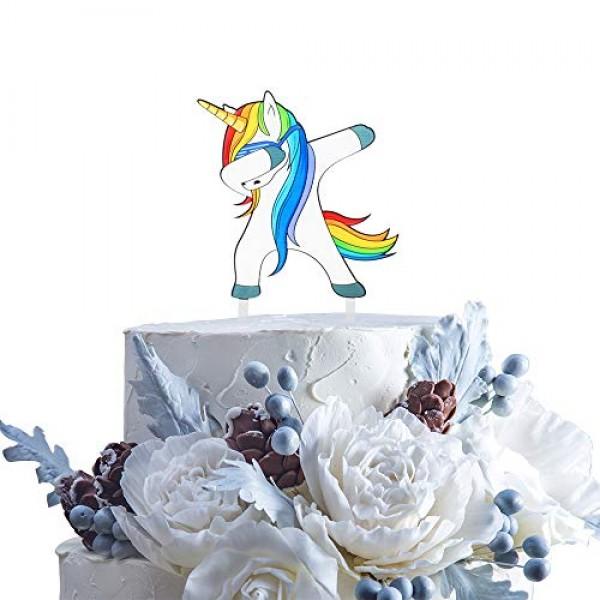 Dabbing Unicorn Birthday Cake Topper Funny Cute Gifts For Kids B...