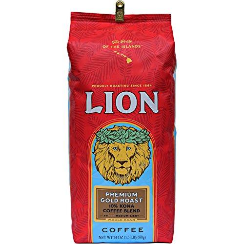 Lion Coffee Premium Gold Roast 10% Kona Coffee Blend Whole Bean ...