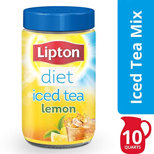Lipton Black Iced Tea Mix, Diet Lemon, 10 qt Pack of 4