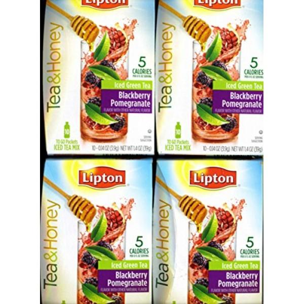 Lipton To Go Stix Iced Green Tea Mix Tea and Honey Blackberry Po...