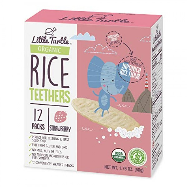 Little Turtle Rice Teethers, Organic Strawberry Flavor, 12 wrapp...
