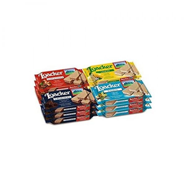 Loacker, Variety Pack, Hazelnut Lemon Vanilla Chocolate Wafers, ...