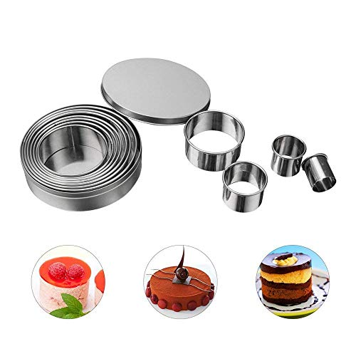 Longay 14Pcs/Set Round Shape Cutting Molds Stainless Steel Mouss...