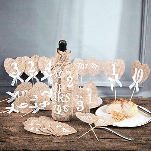 Handmade Natural Burlap Heart Food Picks Jute Rustic Wedding Tha...