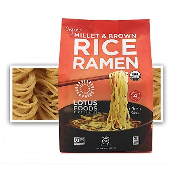 Lotus Foods Gourmet Organic MIllet and Brown Rice Ramen Noodles,...