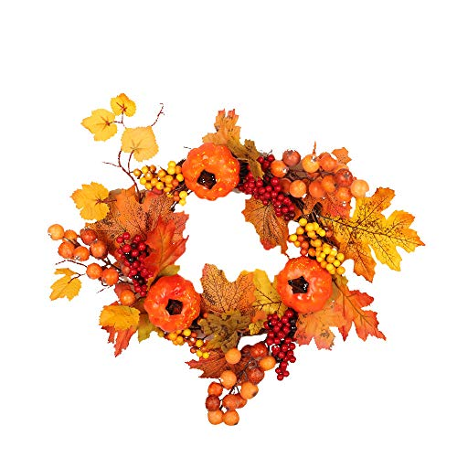Thanksgiving Day Wreath Hanging,Lovewe Autumn Maple Leaf Berry A...