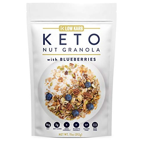 Low Karb - Keto Blueberry Nut Granola Healthy Breakfast Cereal -...