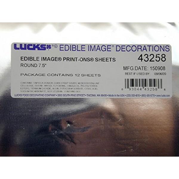 Lucks 43258 7.5 Rounds Edible Image Print-Ons Sheets 12 sheets...