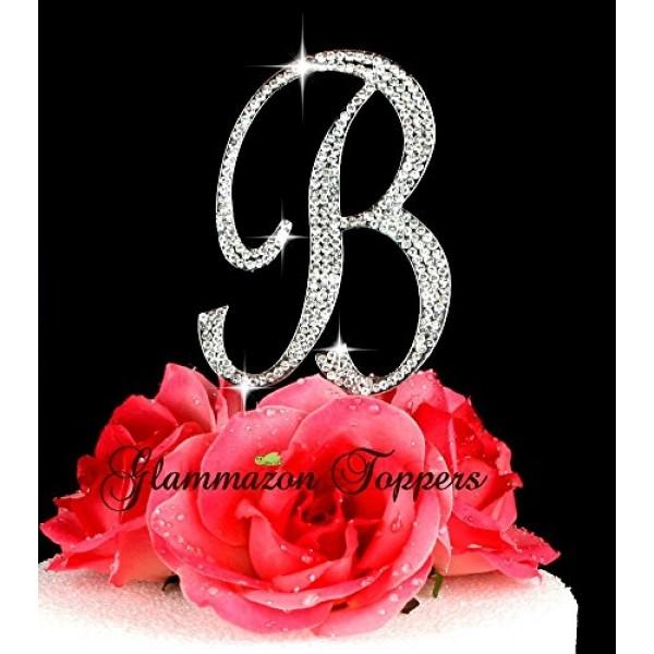 Crystal Rhinestone Cake Topper Letter B Script Font Large Size I...