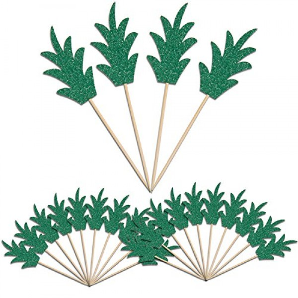 Green Pineapple Cupcake Toppers, LUTER 24 Pcs Donut Toppers Glit...