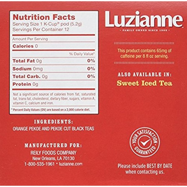 Luzianne Iced Tea, Unsweetened Single Serve Tea Cups, 12 Count B...