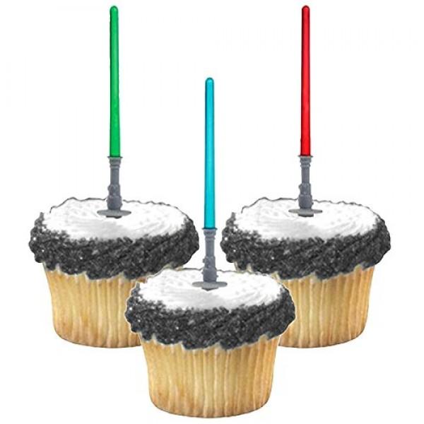 Lynmmax Star Wars Light saber Cupcake Picks Toppers Birthday Fun...