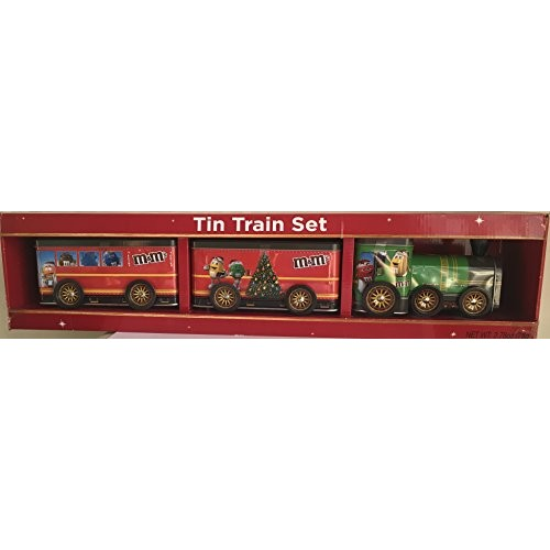 M&Ms Collectible Tin Christmas Train Set with Chocolate Candies...