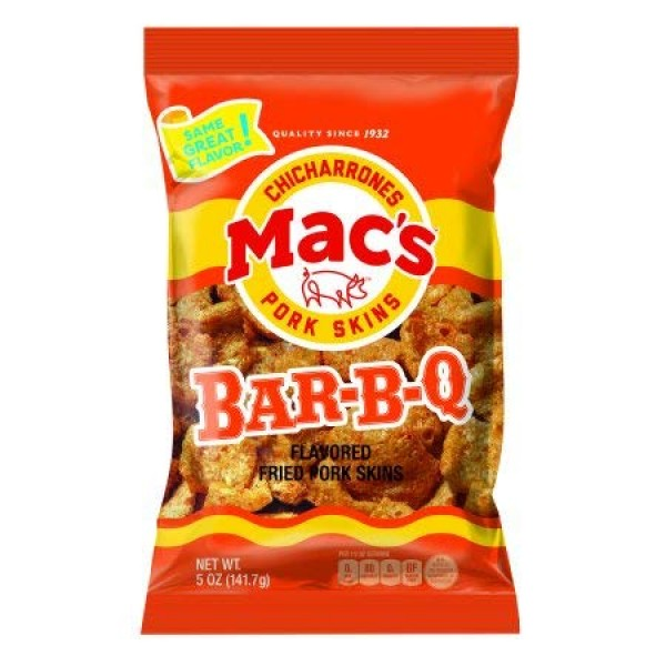Macs Chicharrones -Bar-B-Q Pork Rinds - Six 3oz Bags