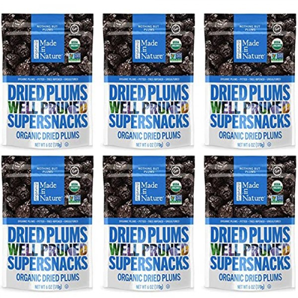 Made In Nature Organic Dried Plums, 6 Ounce Pack of 6 - Non-GM...