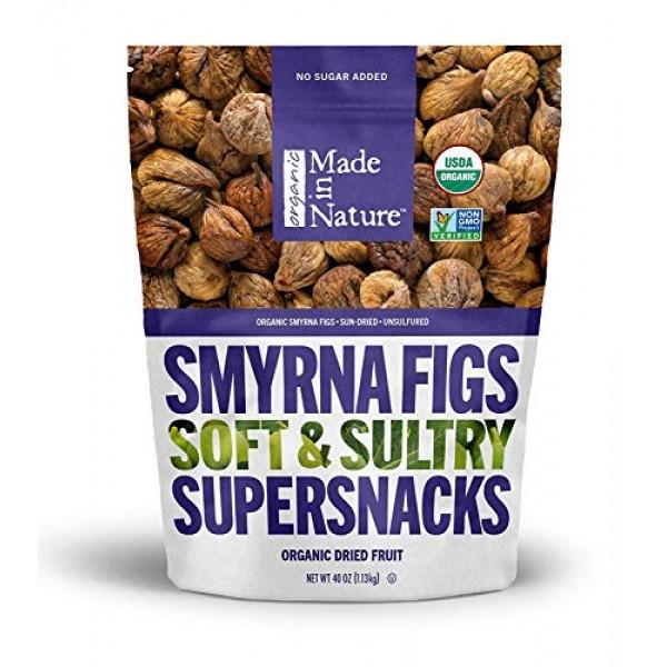 Made In Nature Organic Dried Smyrna Figs, 40 oz Bag- Non-GMO Veg...