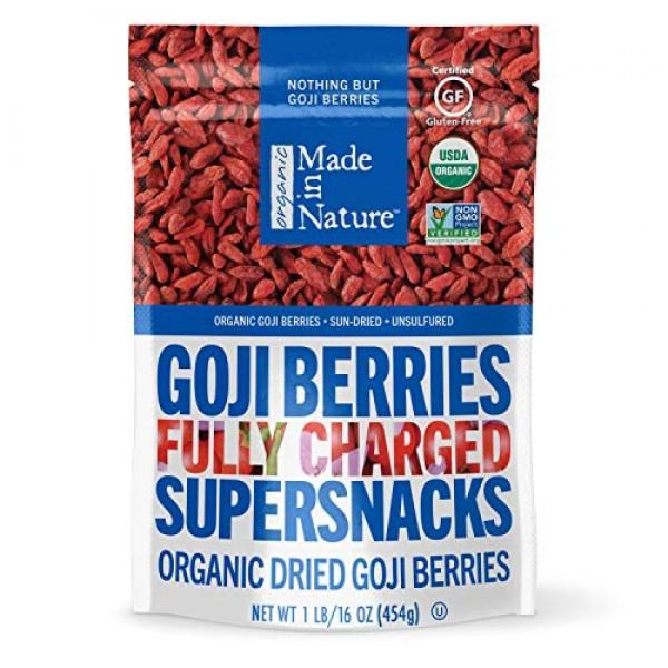 Made in Nature Premium Goji Berries, 16oz – Organic, Non-GMO, Su...