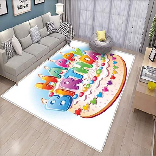 Birthday Decorations for Kids,Decorative Floor mat,Cartoon Happy...