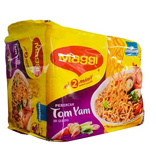 Maggi 2 Minute Noodles Tom Yam Flavour - 80g - Pack of 5 80g x 5