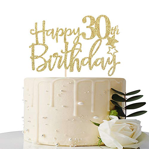 Gold Glitter Happy 30th Birthday Cake Topper,Hello 30,Cheers to ...