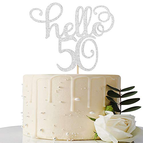 Sliver Glitter Hello 50 Cake Topper - Cheer to 50th Years - 50 a...