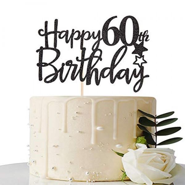 Black Happy 60th Birthday Cake Topper,Hello 60, Cheers to 60 Yea...