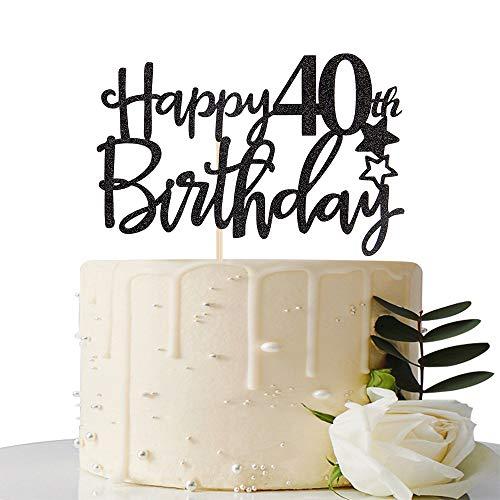 Black Happy 40th Birthday Cake Topper,Hello 40, Cheers to 40 Yea...