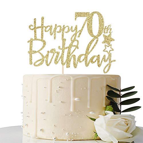Gold GlitterHappy 70th Birthday Cake Topper,Hello 70,Cheers to 7...