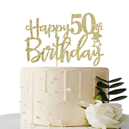 Gold Glitter Happy 50th Birthday Cake Topper,Hello 50,Cheers to ...