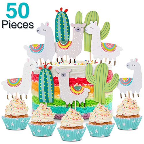 50 Pieces Llama and Cactus Cupcake Toppers Happy Birthday Cupcak...