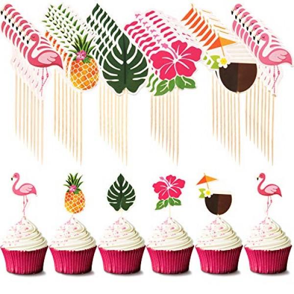 72 Pieces Hawaiian Luau Cupcake Toppers Cake Picks Toothpicks De...