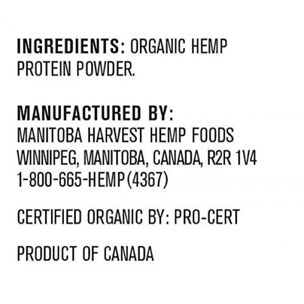 Manitoba Harvest Hemp Yeah! Organic Max Fiber Protein Powder, Un...