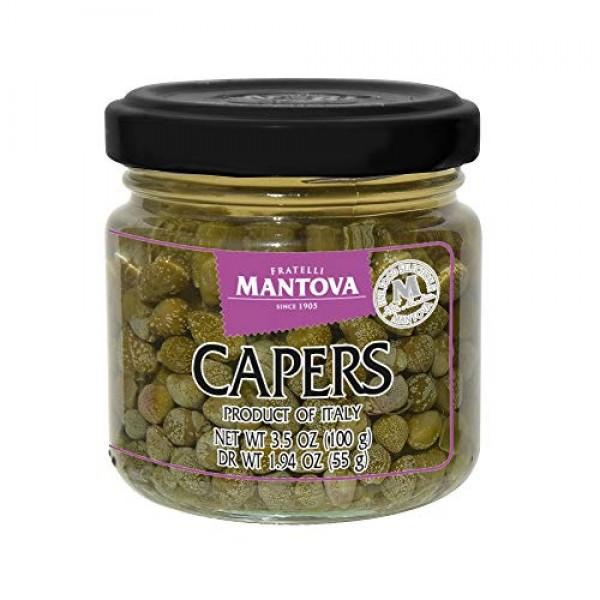 Mantova Capers Nonpareil In Brine 3.5 Oz. Pack Of 3, Capers Fi...