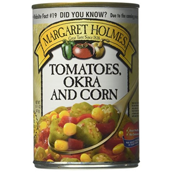 Margaret Holmes, Tomato, Okra & Corn, 14.5oz Can Pack of 6