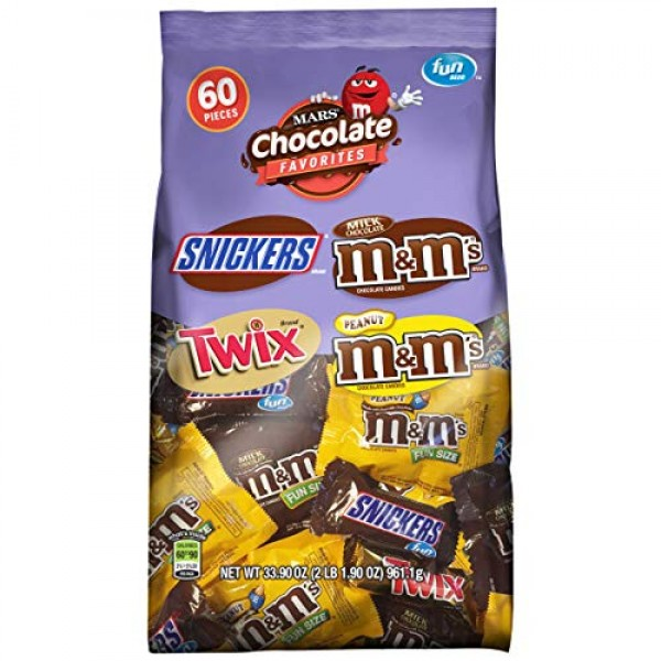 SNICKERS, M&MS & TWIX Fun Size Christmas Candy Variety Mix, 60 ...