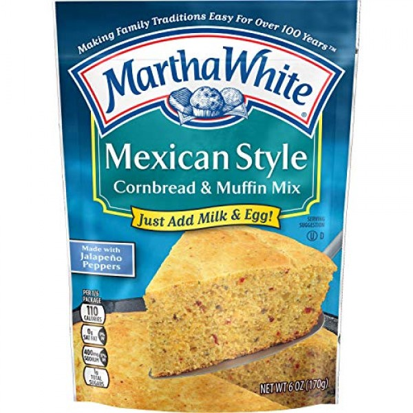 Martha White Mexican Style Cornbread and Muffin Mix, 6 Ounce Pa...