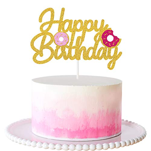 Pink Donut Happy Birthday Cake Topper Glitter Party Decorations ...