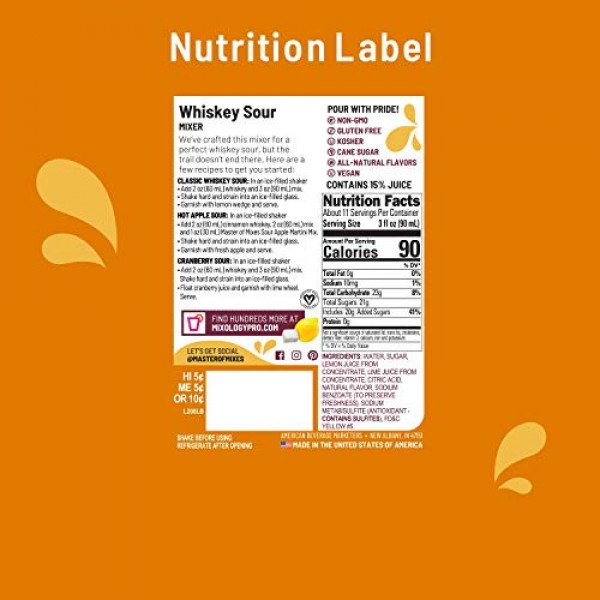 Master of Mixes Whiskey Sour Drink Mix, Ready To Use, 1 Liter Bo...