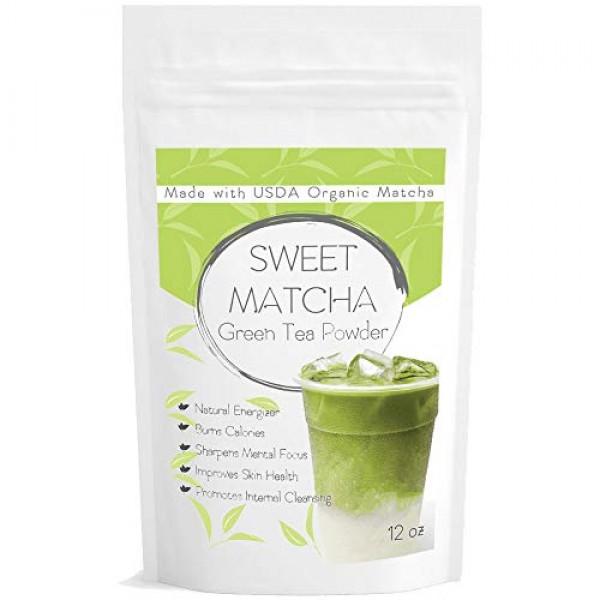 Japanese Sweet Matcha Green Tea Powder - Natural Mix with Organi...