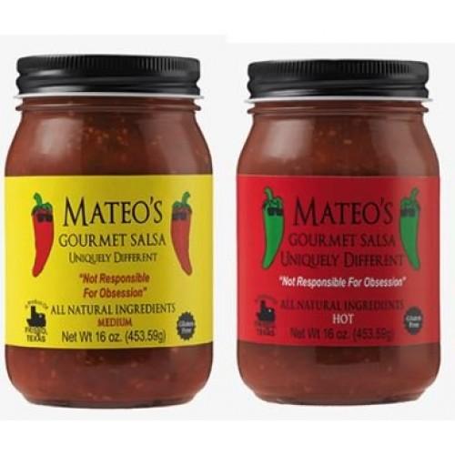 Mateos Gourmet Salsa, Medium & Hot 16 oz Variety Pack