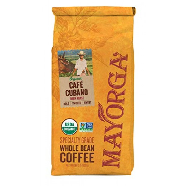 Mayorga Organics Café Cubano, Dark Roast Whole Bean Coffee, 2lbs...