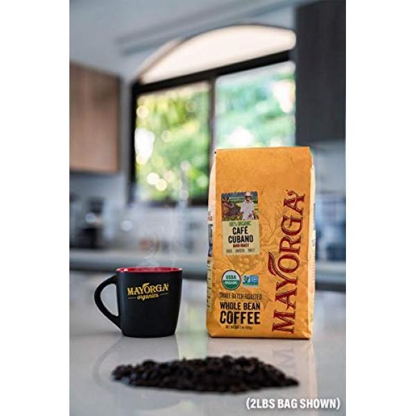 Mayorga Organics Café Cubano, Dark Roast Whole Bean Coffee, 5lbs...
