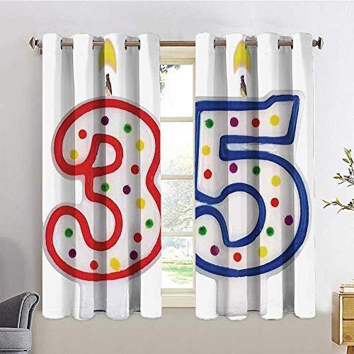 MDOUWoo Fade Resistant Curtain 35th Birthday Decorations Surpris...