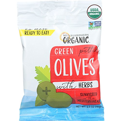 Mediterranean Organic Olives with Herbs - Green Pitted - Snack P...
