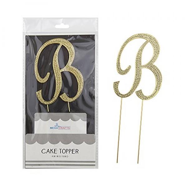 Mega Crafts Sparkly Gold Rhinestone Letter B Cake Topper Decorat...