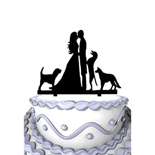 Meijiafei Wedding Cake Topper Groom and Bride Kissing with Three...